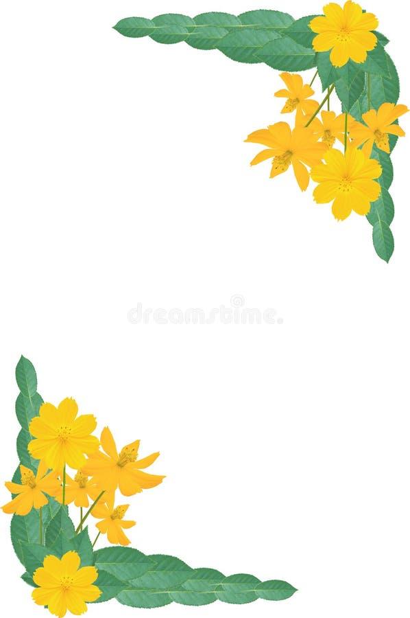 Geel bloemframe royalty-vrije illustratie