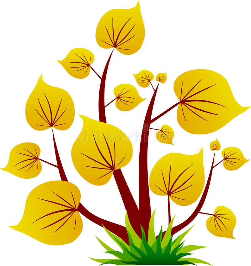 Geel boompictogram met blad royalty-vrije illustratie