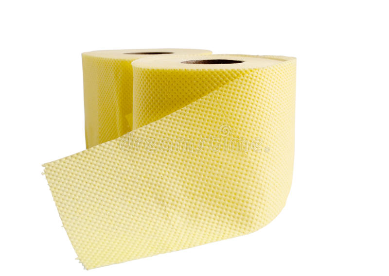 Geel broodje van toiletpapier royalty-vrije stock foto's