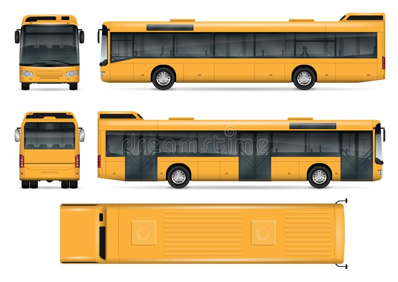 Geel bus vectormalplaatje stock illustratie
