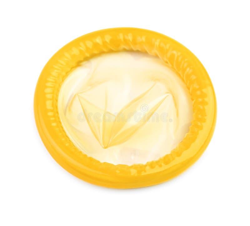 Geel condoom stock foto