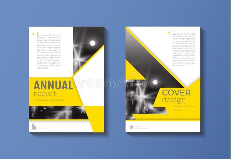 Geel de Brochuremalplaatje van het dekkingsboek, ontwerp, jaarverslag, maga vector illustratie