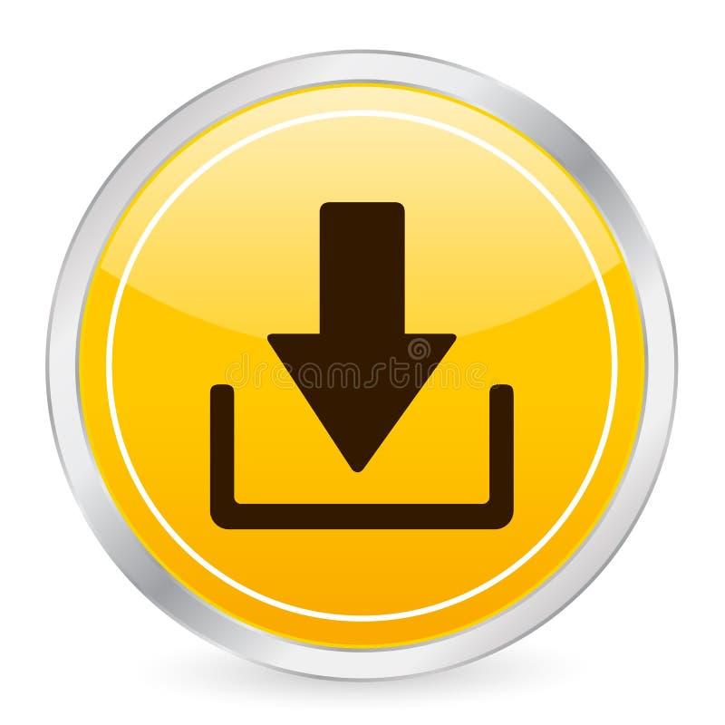Geel de cirkelpictogram van de download vector illustratie