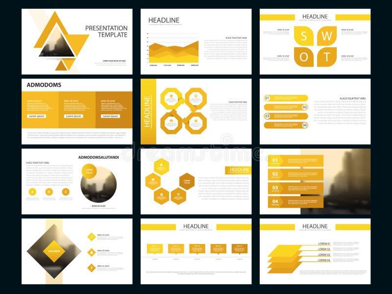 Geel de presentatiemalplaatje van Bundel infographic elementen bedrijfs jaarverslag, brochure, pamflet, reclamevlieger, royalty-vrije illustratie