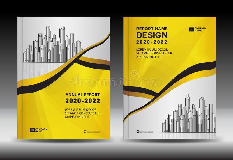 Geel Dekkingsmalplaatje met stadslandschap, het ontwerp van de jaarverslagdekking, het malplaatje van de Bedrijfsbrochurevlieger, royalty-vrije illustratie