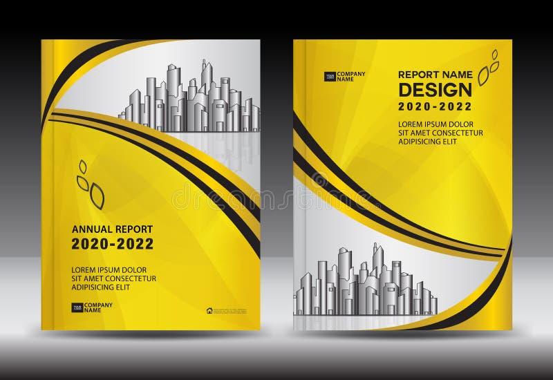 Geel Dekkingsmalplaatje met stadslandschap, het ontwerp van de jaarverslagdekking, het malplaatje van de Bedrijfsbrochurevlieger, vector illustratie