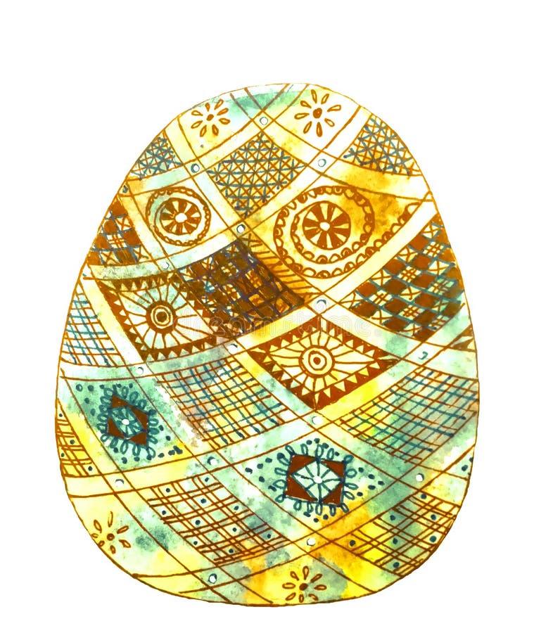 Geel die ei met bruin en groen geruit patroon wordt verfraaid stock illustratie
