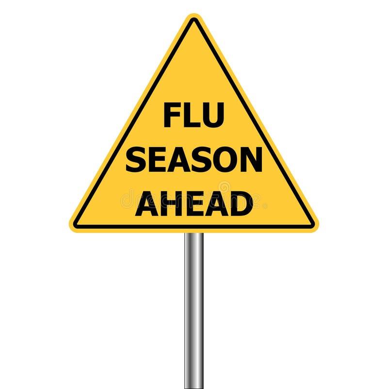 Geel driehoekswaarschuwingsbord, Voorzichtigheid - Griepschoten vooruit, de vectorwaarschuwing van het Griepseizoen H1N1 stock illustratie