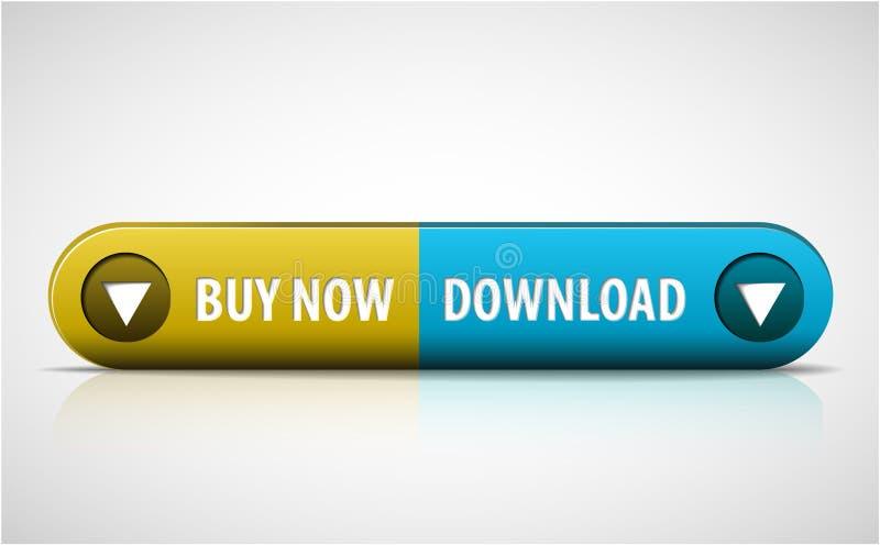 Geel en blauw koop/download nu knoop vector illustratie