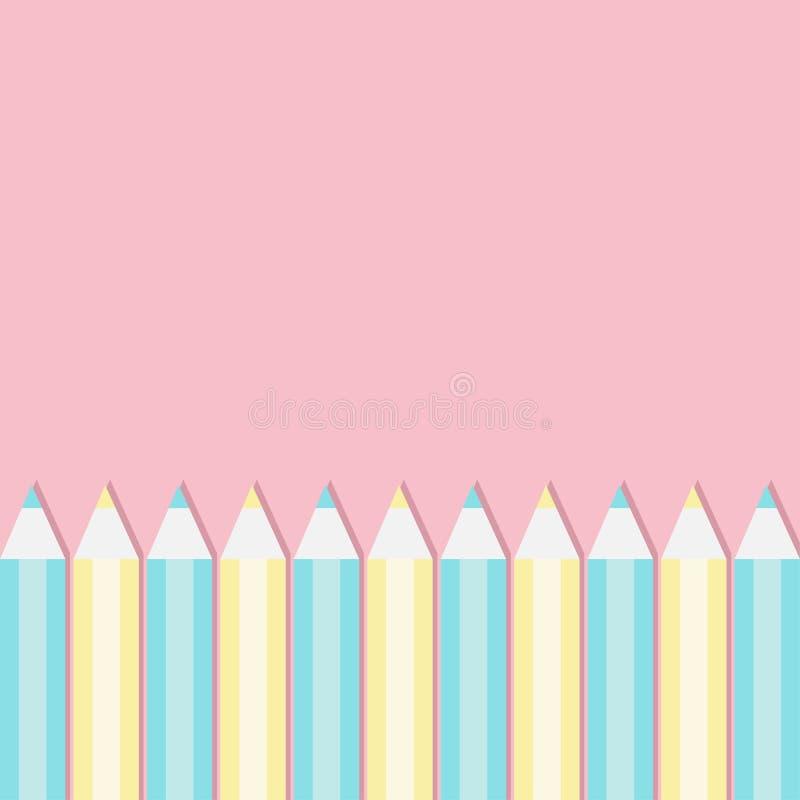 Geel en blauw potlood vastgesteld kader Terug naar schoolkaart Vlak Ontwerp Roze pastelkleurachtergrond Geïsoleerd malplaatje vector illustratie