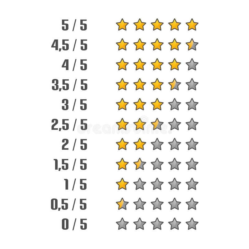 Geel en Gray Colored Product Rating Stars - VectordieIllustratie - op Witte Achtergrond wordt geïsoleerd stock illustratie