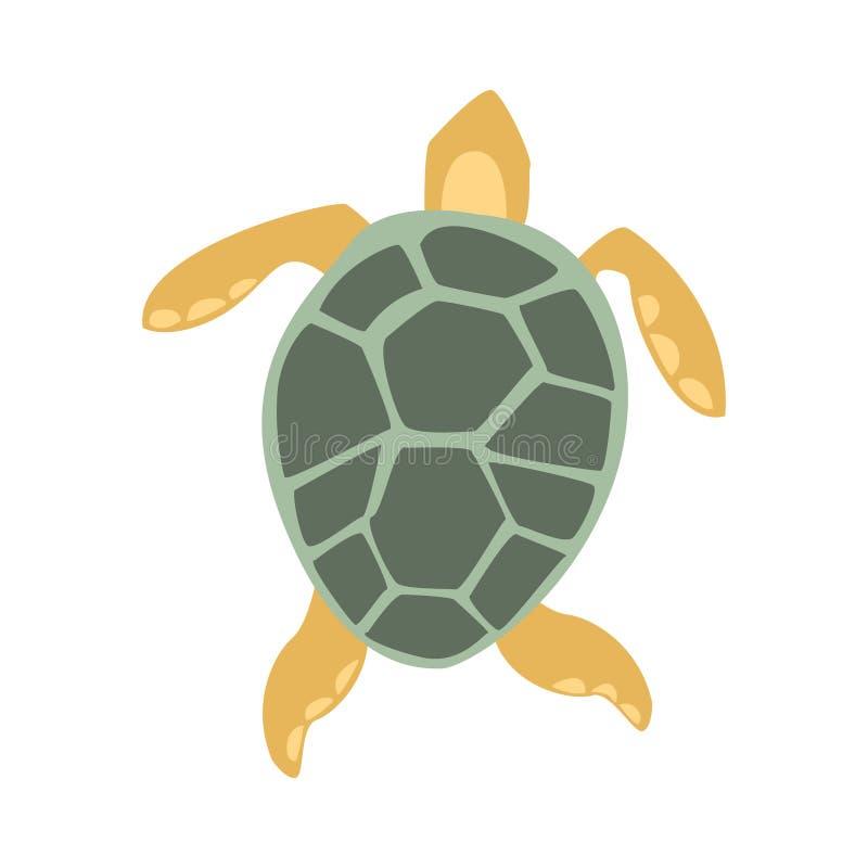 Geel en Grey Turtle, een Deel van de Illustratiesreeks van Marine Animals And Reef Life van de Middellandse Zee vector illustratie