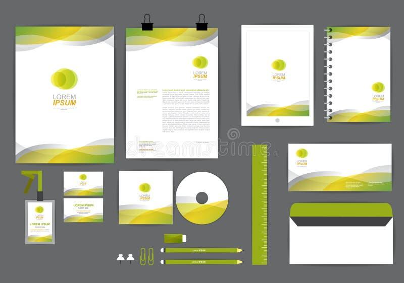 Geel en groen met malplaatje van de kromme het grafische collectieve identiteit vector illustratie