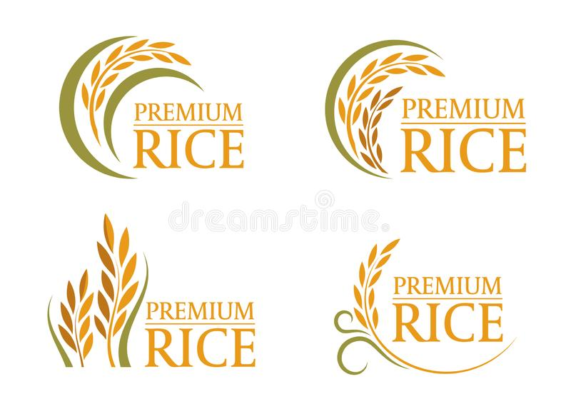 Geel en groen van het de rijstembleem van de padiepremie teken 4 stijl vectorontwerp vector illustratie