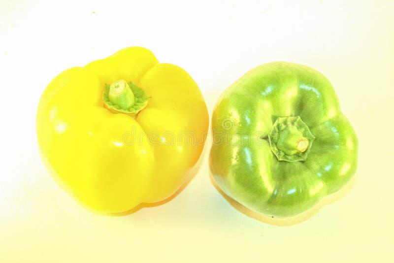 Geel en Groene paprika stock foto