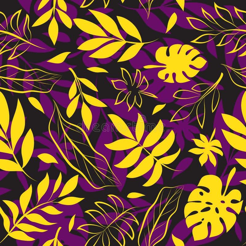 Geel en Purper Exotisch Bladpatroon op Zwarte stock illustratie