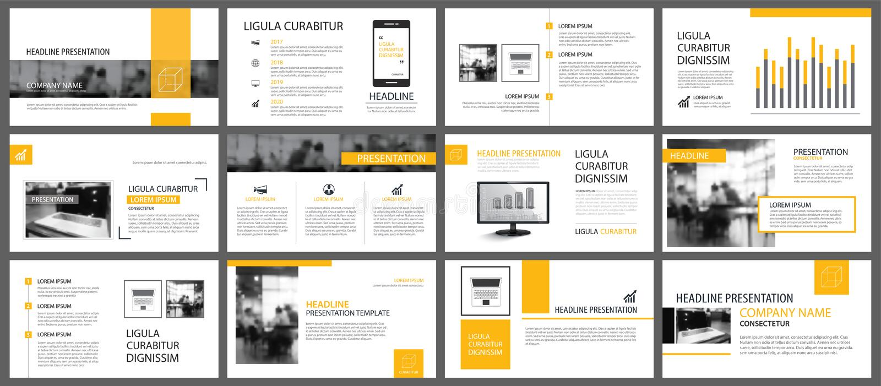 Geel en wit element voor dia infographic op achtergrond stock illustratie