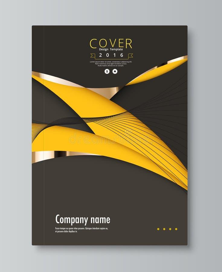 Geel en zwart dekkingsontwerp voor jaarlijks, rapport, boek Vector vector illustratie