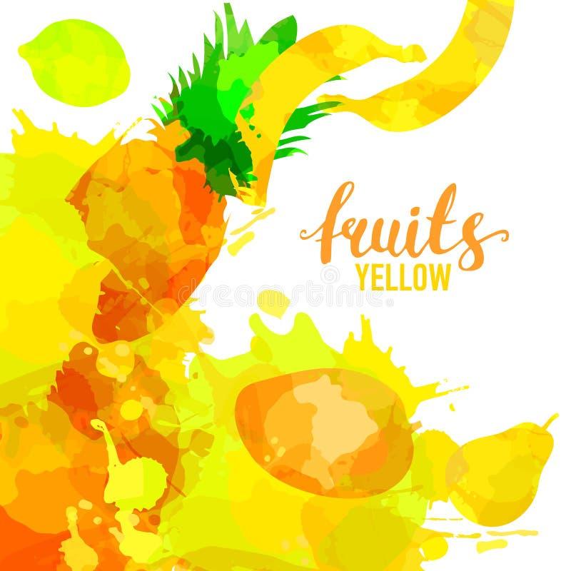 Geel Fruit geplaatst getrokken waterverfvlekken en vlekken met een nevel, citroen, peer, ananas, bananen, Thaise mango Ge?soleerd stock foto