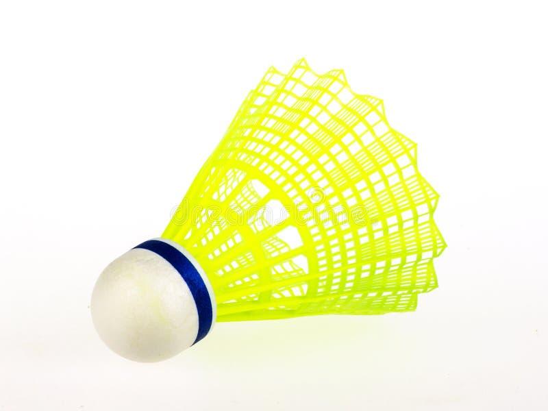 Geel geïsoleerd badminton stock afbeelding