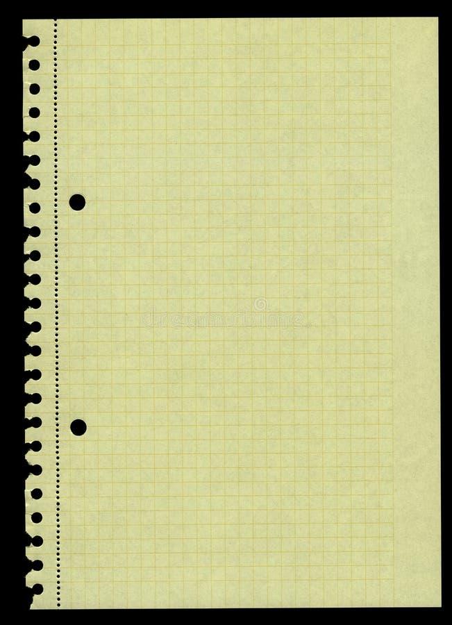 Geel geregeld document dat uit een ringsbindmiddel wordt gescheurd stock fotografie