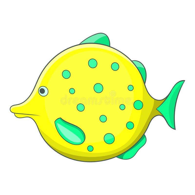 Geel gestippeld vissenpictogram, beeldverhaalstijl stock illustratie
