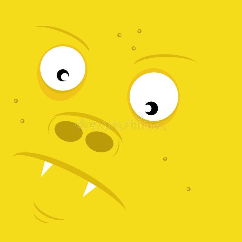 Geel gezicht van monster stock foto