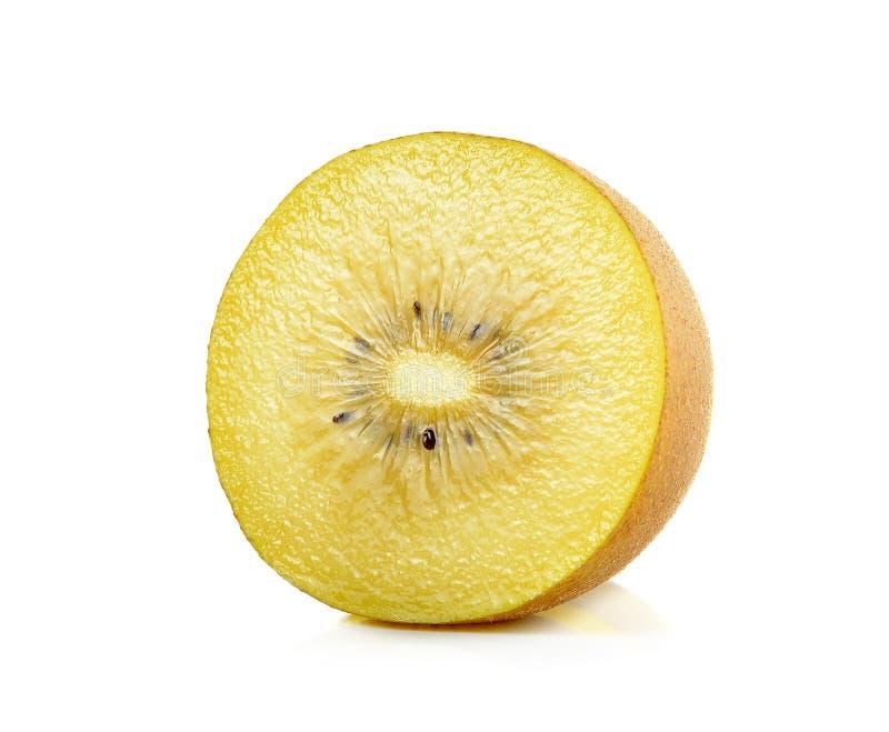 Geel gouden die kiwifruit op de witte achtergrond wordt geïsoleerd stock afbeeldingen