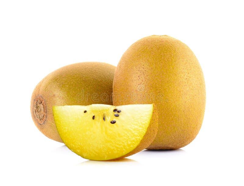 Geel gouden die kiwifruit op wit wordt geïsoleerd stock fotografie