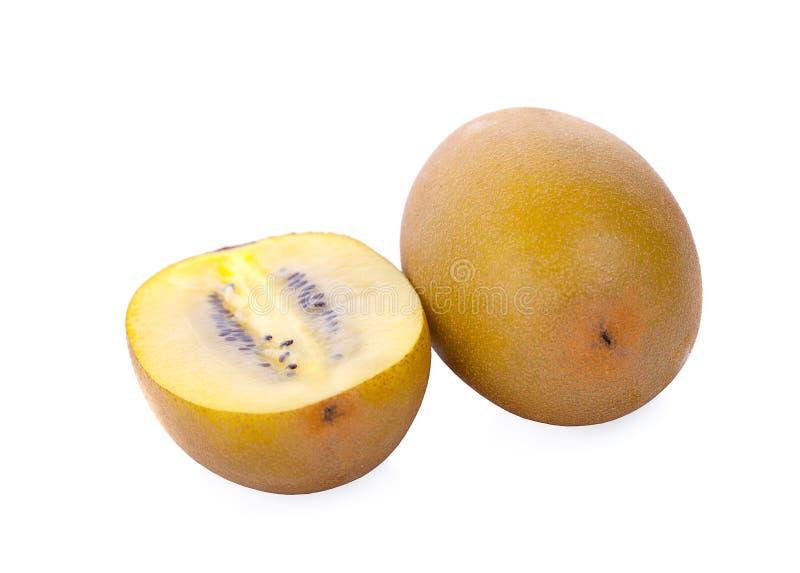 Geel gouden kiwifruit op een witte achtergrond stock fotografie