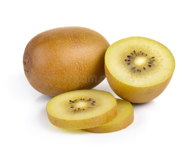 Geel gouden kiwifruit op witte achtergrond royalty-vrije stock afbeelding
