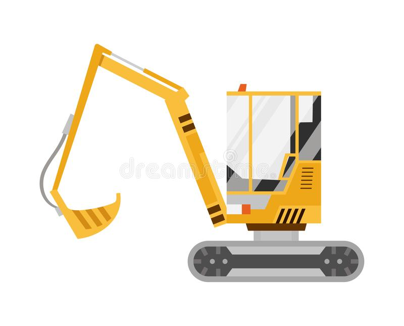 Geel Graafwerktuig Ge?soleerdj op witte achtergrond Speciale apparatuur De machines van de bouw Vector illustratie stock illustratie
