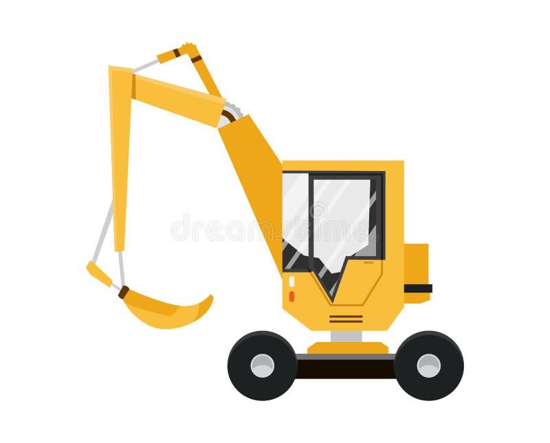 Geel Graafwerktuig Ge?soleerdj op witte achtergrond Speciale apparatuur De machines van de bouw Vector illustratie royalty-vrije illustratie