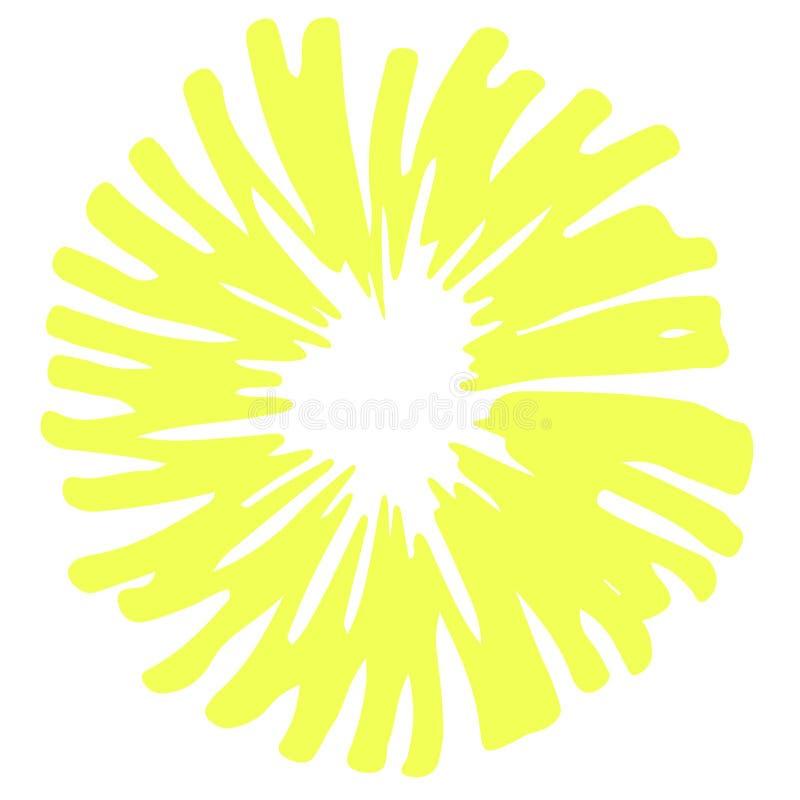 Geel hand getrokken kader, leuke ronde vectorachtergrond stock illustratie