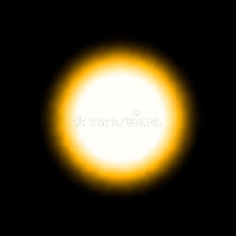 Geel helder licht gebied De zonverduistering begint Vector illustratie op zwarte achtergrond stock illustratie