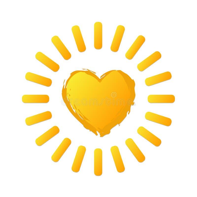 Geel helder zonpictogram in hartvorm op wit Zieke voorraadvector vector illustratie