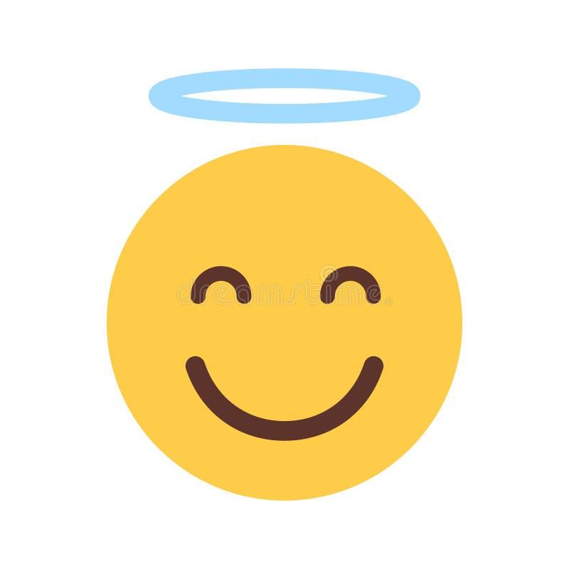 Geel het Glimlachen Beeldverhaalgezicht Leuk Angel Emoji People Emotion Icon vector illustratie