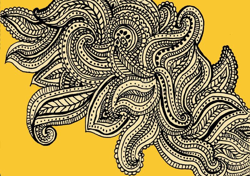 Geel het patroon van Paisley ontwerp als achtergrond royalty-vrije illustratie