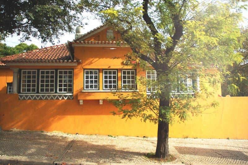 Geel huis en een boom in zonstralen stock afbeeldingen