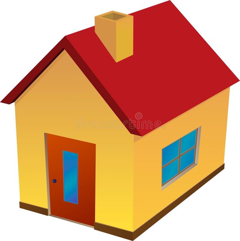 Geel huis met rood dak royalty-vrije illustratie