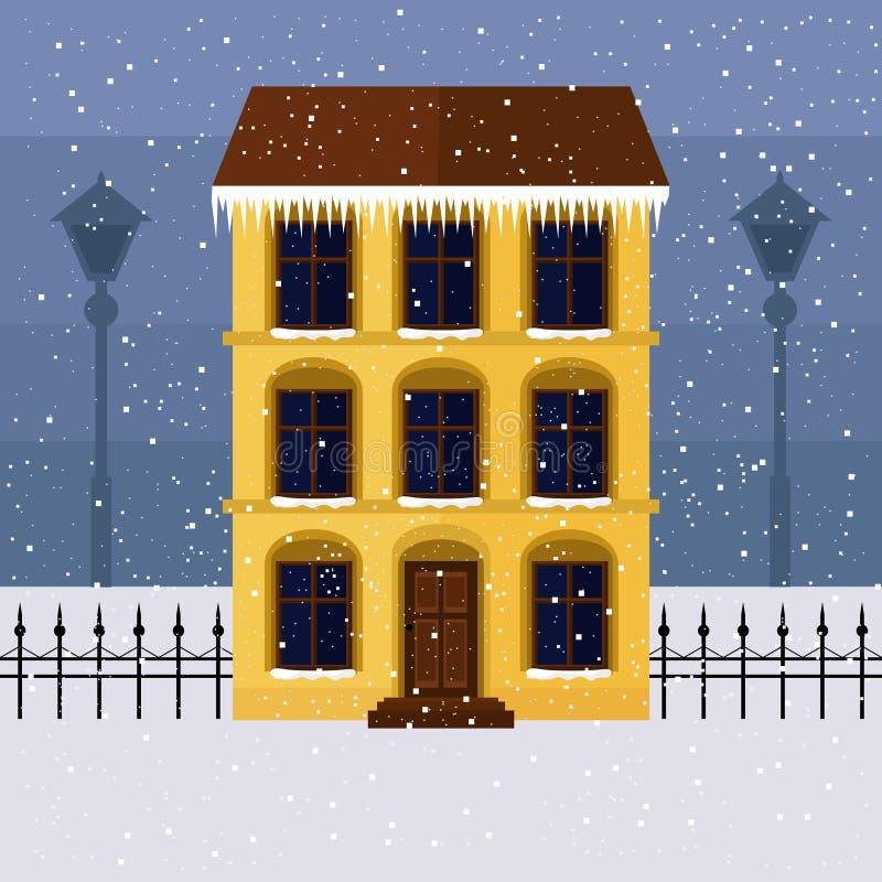 Geel huis op de winterstraat royalty-vrije illustratie