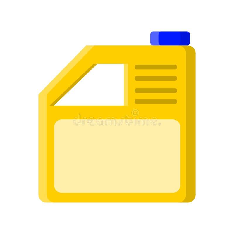 Geel kan met vloeibare reinigingsmachine in vlakke stijl op wit, voorraad vectorillustratie vector illustratie