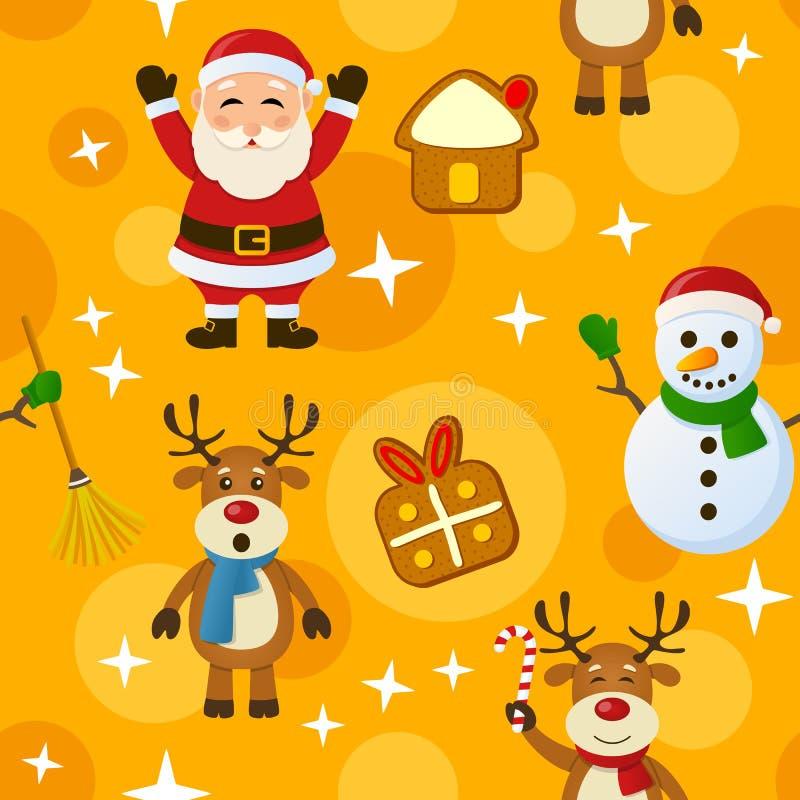 Geel Kerstmis Naadloos Patroon vector illustratie