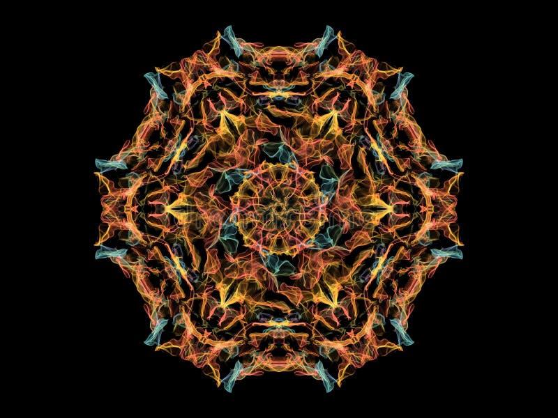 Geel, koraal en blauwe mandala van de neon abstracte vlam bloei, sier bloemen rond patroon op zwarte achtergrond Yogathema royalty-vrije illustratie