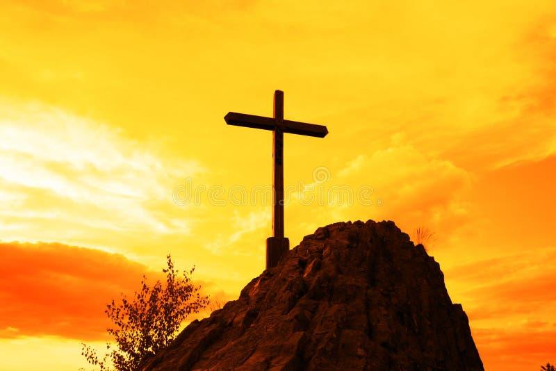 Geel kruis royalty-vrije stock fotografie