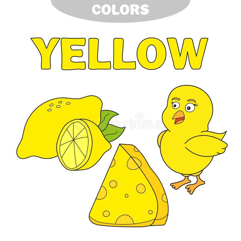 geel Leer de kleur Onderwijsreeks Illustratie van primaire kleuren Vector royalty-vrije illustratie