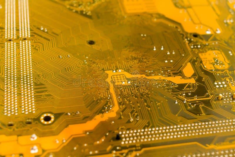 Geel motherboard achtereind royalty-vrije stock afbeelding