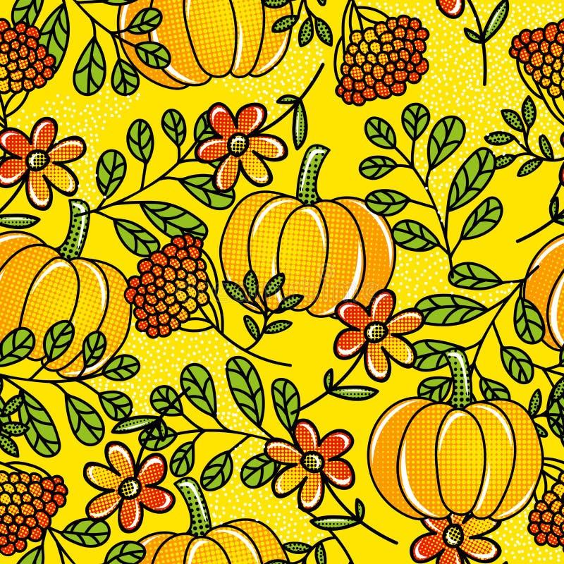 Geel naadloos patroon met pompoen, bladeren, bloemen en bessen Pop-artachtergrond met vruchten en aardelement royalty-vrije illustratie