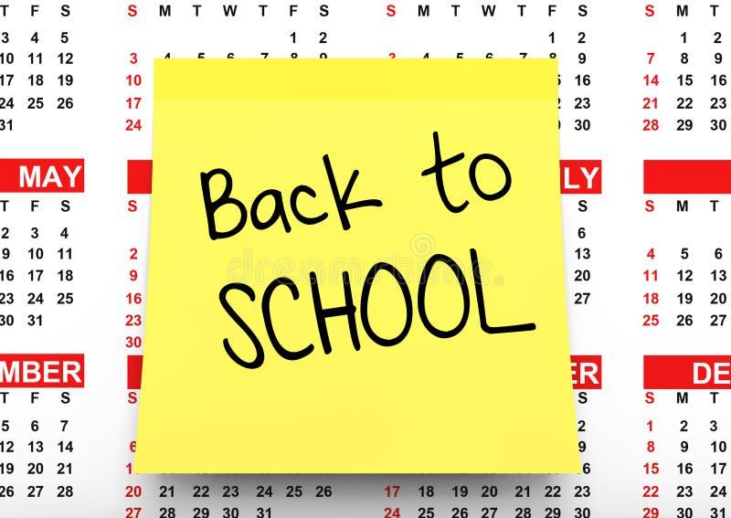Geel Notadocument met terug naar Schoolteken over Kalender 3d ren vector illustratie