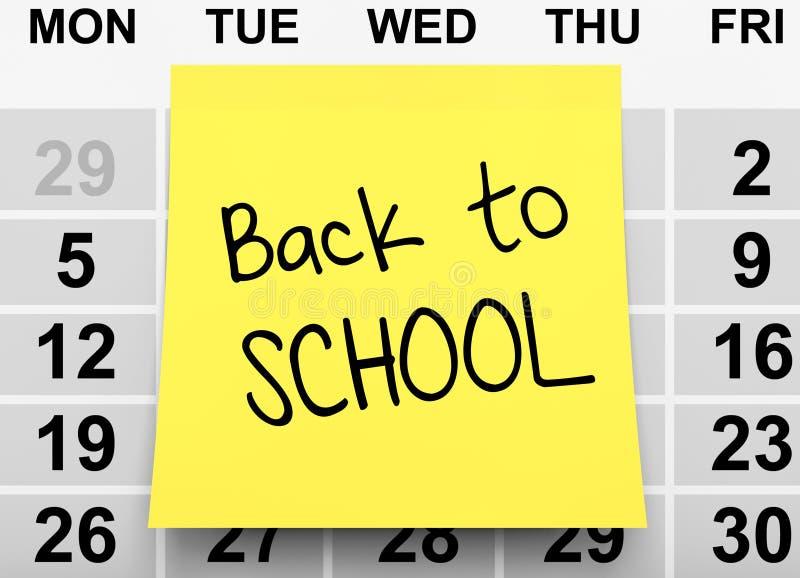 Geel Notadocument met terug naar Schoolteken over Kalender 3d ren royalty-vrije illustratie